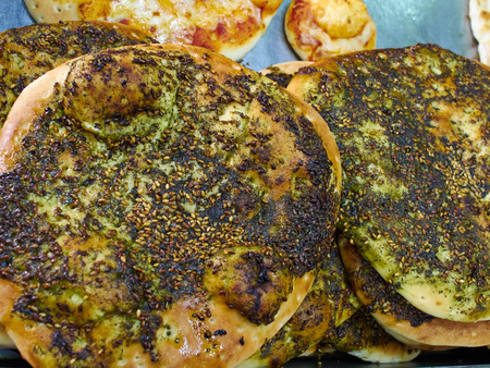 Manakish flat bread with Zaatar Middle East Arabic cuisine Stock fotó - 58920718