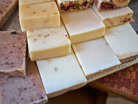 natural selection: Selection of different natural spa soap on disply Stock Photo