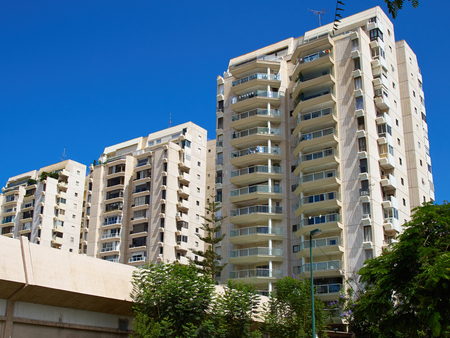 Modern design luxurious executive apartments city condominium building Foto de archivo