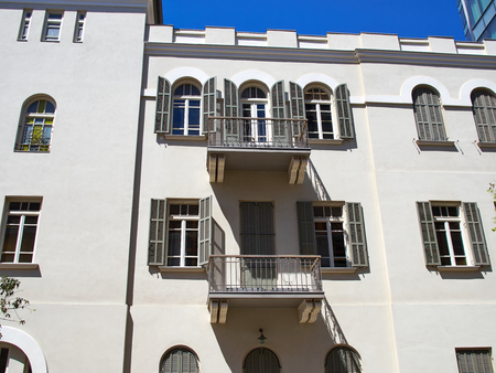 Romantic Mediterranean European style classical old stone building The White City Tel-Aviv Israel Stock fotó - 58920828