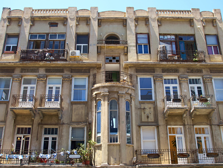Romantic Mediterranean European style classical old stone building The White City Tel-Aviv Israel Sajtókép