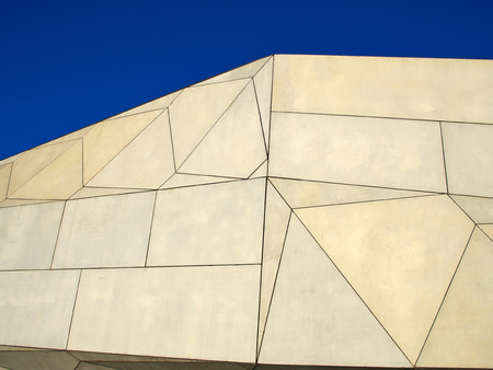 lineas rectas: Modern abstract architecture in clear straight lines blue sky background Editorial