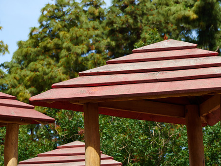 Modern Classical Design Garden Pergola Arbor Made Of Wood Stock Photo    58920831