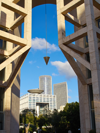 Famous landmark Azrieli center modern buildings in Tel Aviv
