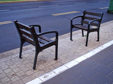 armrest: Modern design creative street furniture made of metal and wood