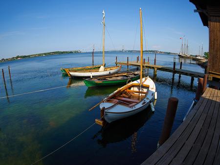 sail boat: Old vintage traditional Danish wooden sail boat in Middelfart Marina Denmark