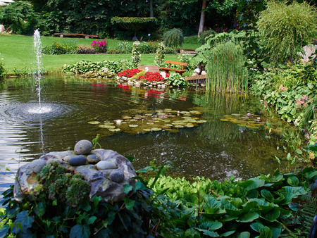 Ornamental pond and water fountain in a beautiful creative lush green blooming garden