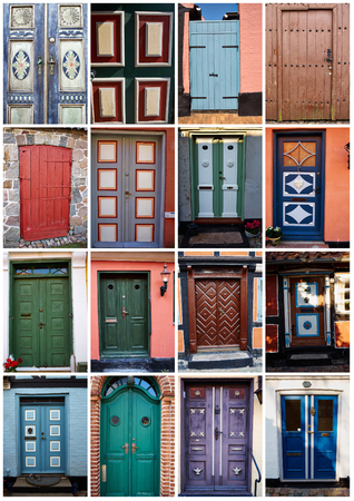 facade: Collage with white border of traditional vintage colorful decorative front doors Denmark