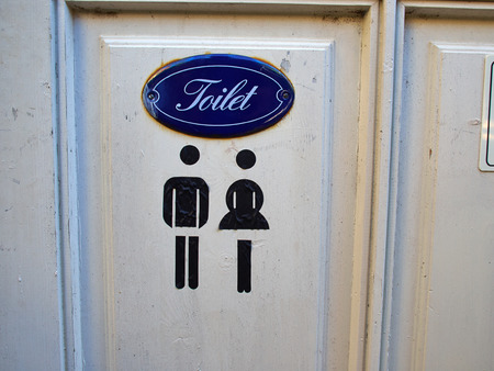 classical style: Old vintage classical style sign of public WC toilet