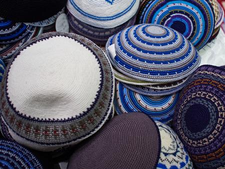 skullcap: Wide Selection of Traditional Kippah Yarmulke Jewish Hats on Display