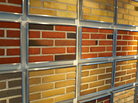 surface level: Beautiful design decorative bricks on display in store Stock Photo