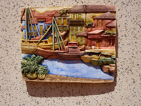 Traditional Spanish colorful ceramic building house wall decoration made by hand