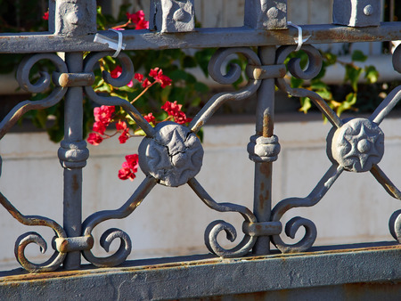 Closeup setails of ornate wrought iron elements  metal gate with flowers in the background