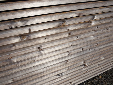 Details of modern trendy style wooden fence in horizontal design Banque d'images - 111394097