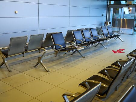 Modern design waiting room of an airport ready for travel passengers Stock Photo