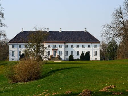 Old classical style manor house Fyn Funen Denmark major lanmark and tourist attraction