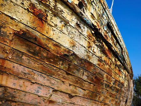 Details of Derelict Wooden Old Traditional Fishing Boat Wreck Lachi Latsi Port near Polis Cyprus Foto de archivo