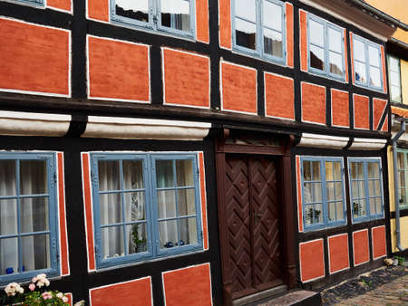 Traditional old classic vintage decorative colored picturesque style Danish house home Aero Island, South Funen, Denmark