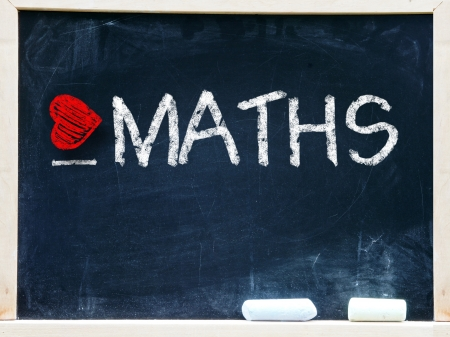 I love maths written on a chalkboard                      Stock Photo - 19056489