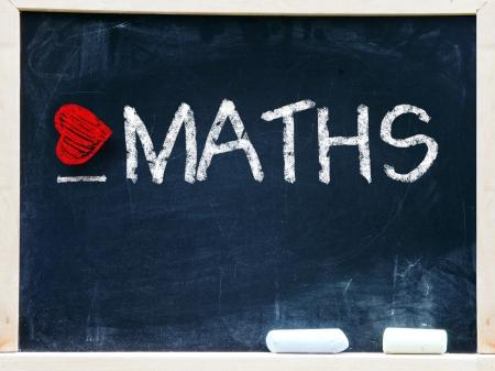 phrase novel: I love maths written on a chalkboard