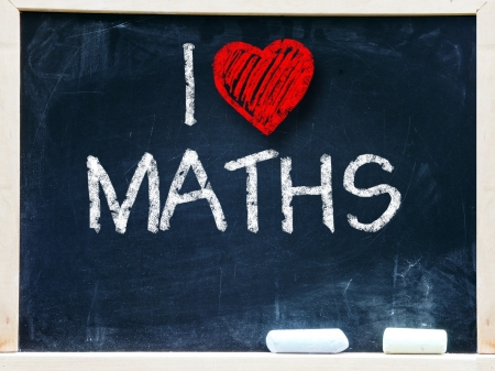 I love maths written on a chalkboard                       Stock Photo - 19056490