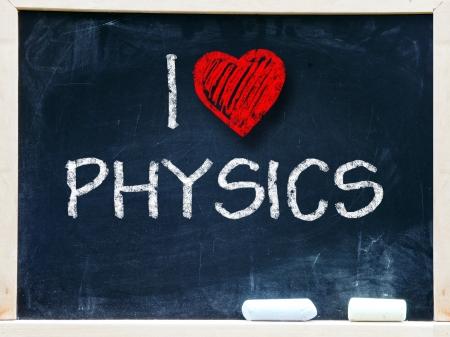 phrase novel: I love physics written on a chalkboard