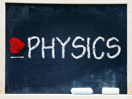 I love physics written on a chalkboard                    Stock Photo