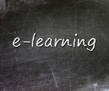 E-learning school written on a chalkboard