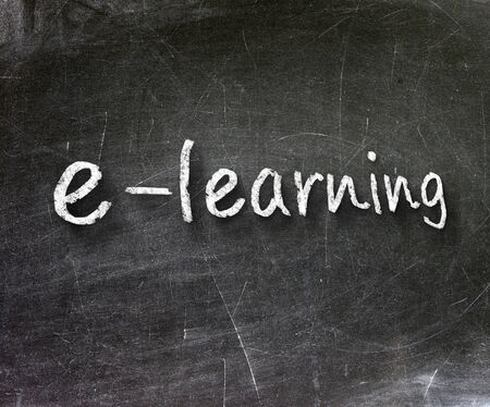 E-learning school written on a chalkboard                       Stock Photo