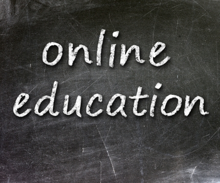 Online education school written on a chalkboard