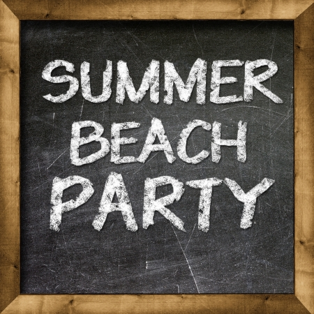 Summer beach party handwritten with white chalk on a blackboard  Stock Photo - 19094810