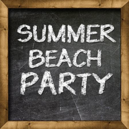 Summer beach party handwritten with white chalk on a blackboard Stock Photo - 19094810