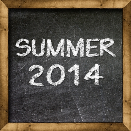 Summer 2014 handwritten with white chalk on a blackboard  Stock Photo - 19094809