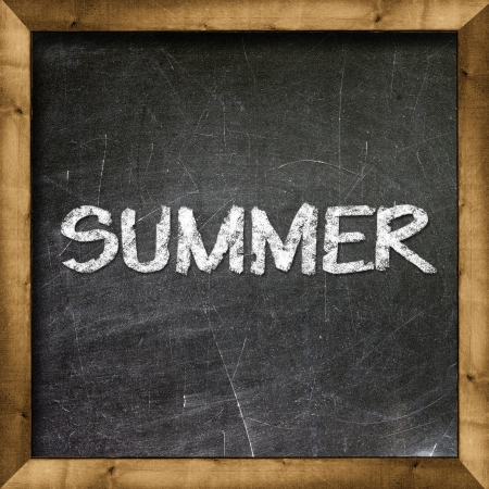 Summer handwritten with white chalk on a blackboard  Stock Photo - 19094815