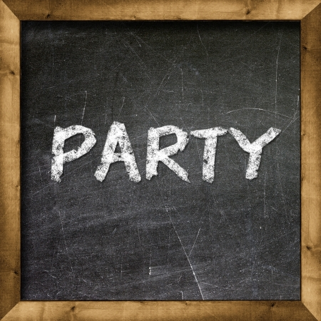 Party handwritten with white chalk on a blackboard Stock Photo - 19094806