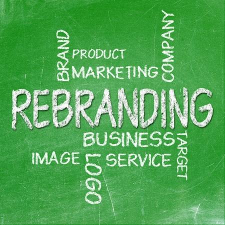 Rebranding on chalkboard Stock Photo