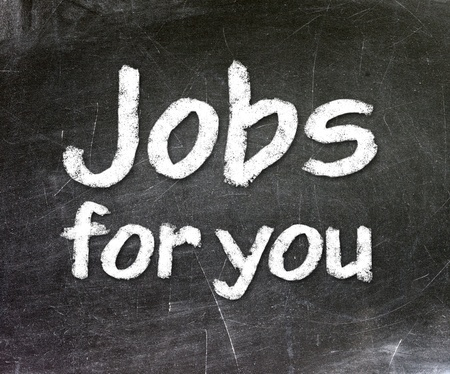 Jobs for you handwritten with white chalk on a blackboard  Stock Photo - 23545781