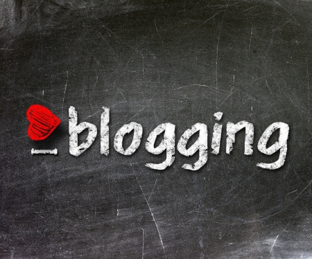 I love my blog handwritten with white chalk on a blackboard                    photo