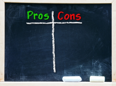 Pros and Cons handwritten with white chalk on a\ blackboard