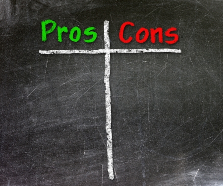 Pros and Cons handwritten with white chalk on a blackboard                   photo