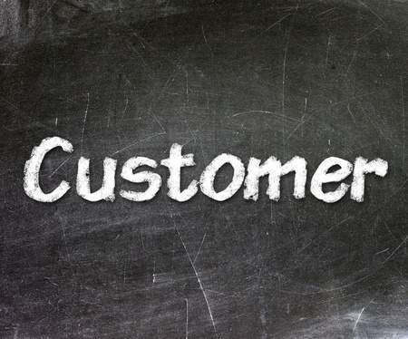 Customer handwritten with white chalk on a blackboard Stock Photo - 20601540