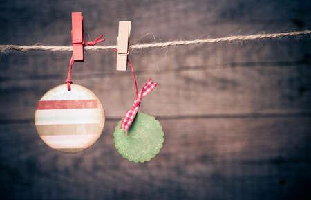 Set of Christmas tags on rope Stock Photo
