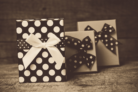 Gifts on the wooden floor  Stock Photo