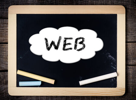 friend chart: WEB handwritten with white chalk on a blackboard on wood background  Stock Photo