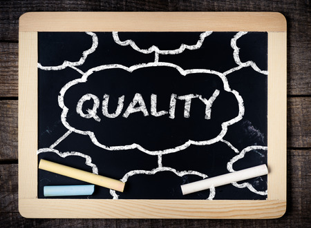 communicative: Quality handwritten with white chalk on a blackboard on wood background
