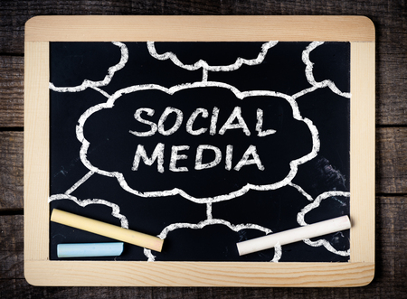 Social Media concept on blackboard on wooden background  Stock Photo