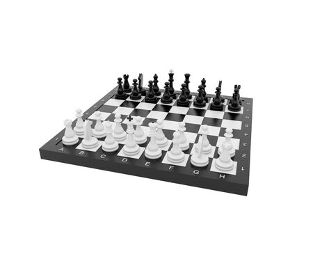 Plastic chess on a white background. photo