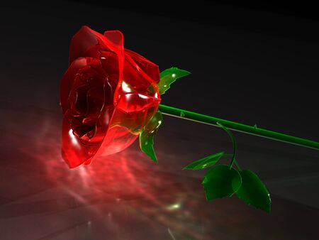 Glass rose on a black background.  Stock Photo