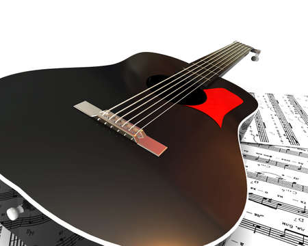 acoustics: Acoustics guitar on the white background. 3d illustration.
