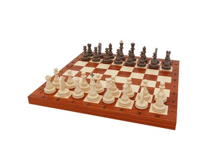 turret: Wooden chess on a white background. The beginning of a chess party. Stock Photo